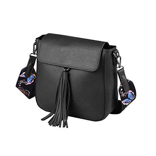 OBC ital-Design Damen Tasche Umhängetasche Crossbody Bag Shopper Schultertasche Henkeltasche Handtasche Beuteltasche Crossover Schwarz