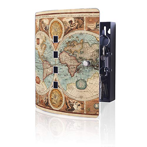 banjado Design Schlüsselkasten aus Edelstahl | 10 Haken für Schlüssel | praktischer Magnetverschluss | 24x21,5cm Motiv Historische Weltkarte