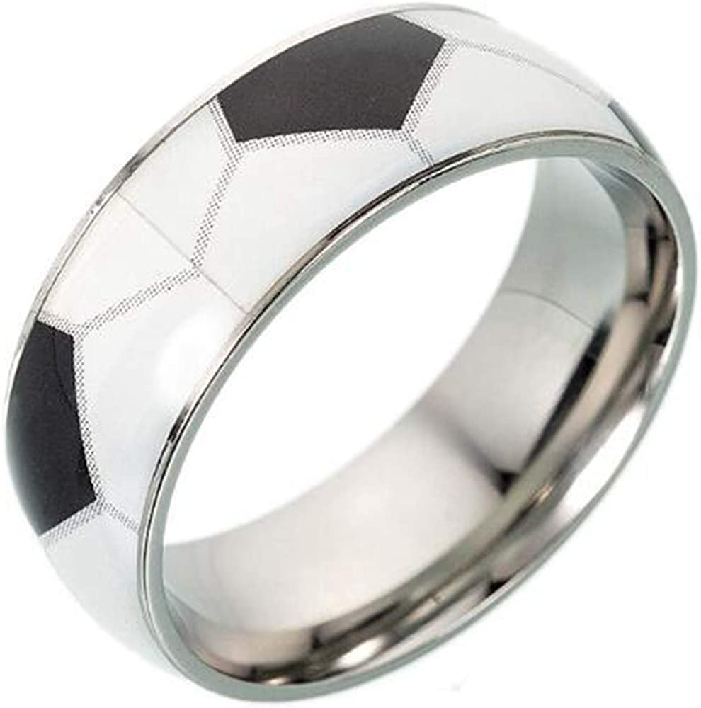 Jude Jewelers Stainless Steel Sports Basketball Rugby Soccer Wedding Band Graduation Ring