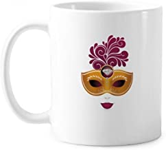 Femininity Mask Happy Carnival Of Venice Classic Mug White Pottery Ceramic Cup With Handle 350ml Gift