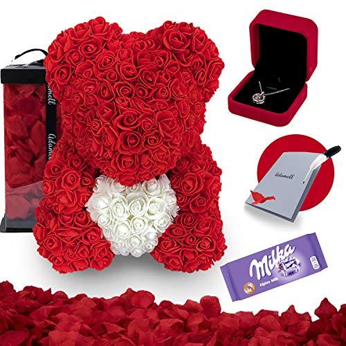 Rosen Teddybär 40cm mit geschenkbox, einzigartiges geschenk für frauen, freundin, kinder - Exklusiver Rosenbär zum Muttertag, Geburstag & Jahrestag - Blumen Teddy Bär voller rosenblätter (5 in 1)Rot