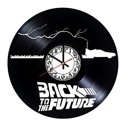 Regreso al Futuro Aventura Vintage Negro Vinyl Record Reloj de Pared Arte de la Pared 3D Diseño Moderno Oficina Bar Habitación Decoración del hogar Regalo