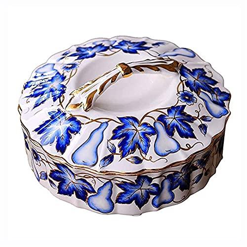 JYV Placa de cerámica de la Fruta del hogar Placa China Azul y Blanco Porcelana Creativa de la Fruta con la Tapa de la Placa Sala de Estar Tabla Mesa de la Fruta (30 * 30 * 15 cm)