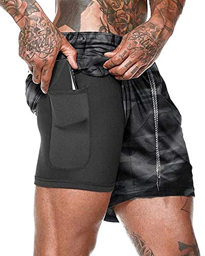 LANKMEI Men's 2 in 1 Running Shorts Workout Training Yoga Gym Sport Short Pants with Zipper Phone Pockets, Camo Grey, US 34 = Tag 2XL
