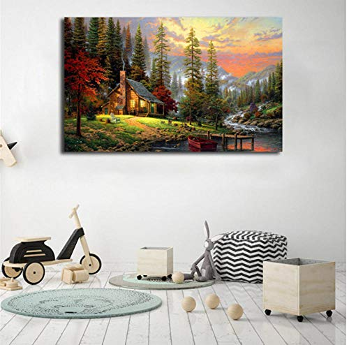 Bob Ross schilderijen landschappen kunst canvas poster schilderij muur foto print thuis slaapkamer decoratie schilderij poster 60x90cm frameloos