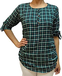 Veronica Long Sleeve Ladies Blouse checkered dark green