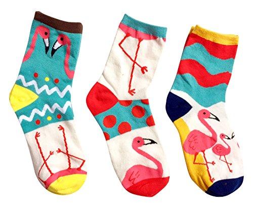 MarylinDreams Damen Socken | (3 Paar) | Bunte Verrückte Flamingo Motive | Mehrfarbig | (Größe 35-40)