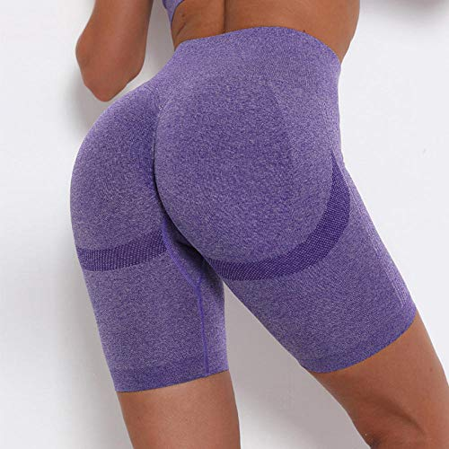 bayrick Nalgas de melocotón Sexy,Entrenamiento de Secado rápido ejecutando Pantalones de Yoga Mujeres Pantalones Cortos de Yoga sin Fisuras-púrpura_Metro