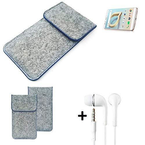 K-S-Trade Filz Schutz Hülle Für Alcatel A7 XL Schutzhülle Filztasche Pouch Tasche Handyhülle Filzhülle Hellgrau, Blauer Rand + Kopfhörer