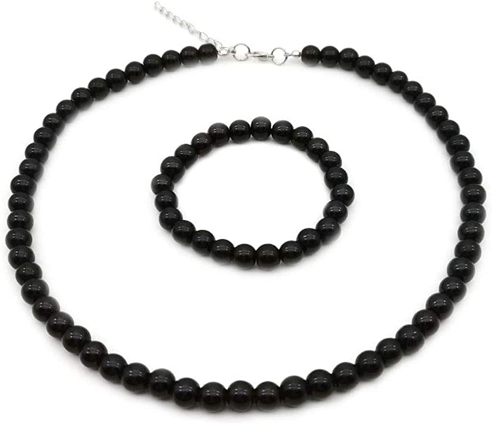 JSEA 8mm Faux Pearl Necklace Elastic Bracelet Jewelry Set Beige White Pink Fake Pearl Jewelry