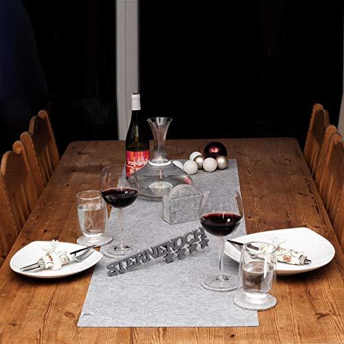 lana naturalis® Exclusive edle XXL Tischläufer aus weichem Filz - wunderschöne Farben, strapazierfähig und abwaschbar (Hellgrau)
