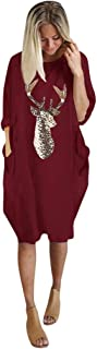 SONIGER ʕ•ᴥ•ʔ Women Plus Size Xmas Printed Dress Long Sleeve o Neck Loose Baggy Solid Pullover Blouse with Pockets