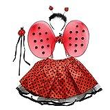 Borstu Disfraz de Hada 4 Piezas/Set Conjunto de Disfraz de Hada Mariquita para niños Linda Falda de ala Brillante Conjunto de Fiesta de Halloween con Varita, Diadema