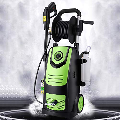 Suyncll Pressure Washer 3800PSI Max 2.8 GPM Electric Pressure Washer With Reel High Power Washer Machine Cleaner with Nozzles, Spray Gun,Detergent Tank For Cleaning Homes,Cars,Driveways,Patios (Green)