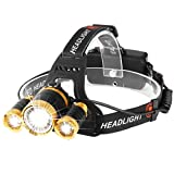 YEXIN Head Torch LED Rechargeable headlight with 3 Lights 4 Modes, 5000 Lumen