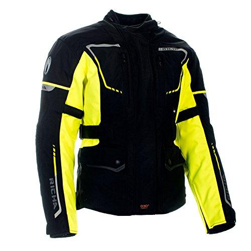 Richa Phantom 2 Chaqueta de moto impermeable, transpirable, color negro y fluorescente