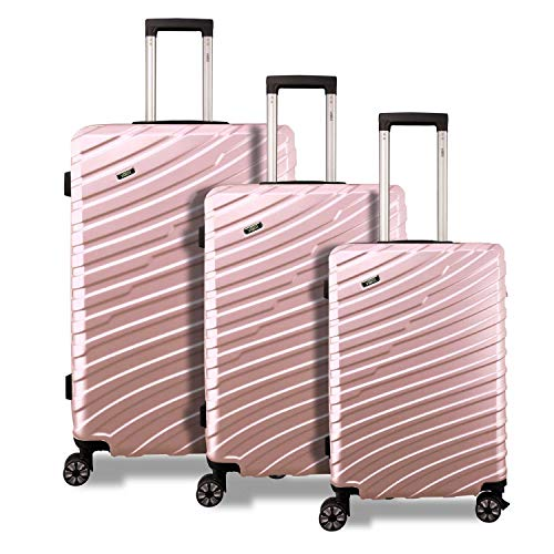 Valis 3-Piece Travel Suitcase Set M-L-XL Luggage Set Suitcase 4 Wheels with Combination Lock Rose Gold