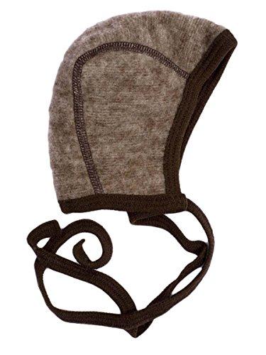 Cosilana Baby Häubchen aus 100% Wolle Fleece (kbT) (74/80, Braun-Melange)