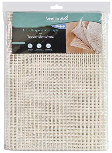Venilia Teppichgleitschutz Venigrip, Antirutschmatte für Teppich, Bodenschoner, Teppichunterlage rutschfest, zuschneidbar, PVC-Polyester, Weiß, 60 x 120 cm, 54168