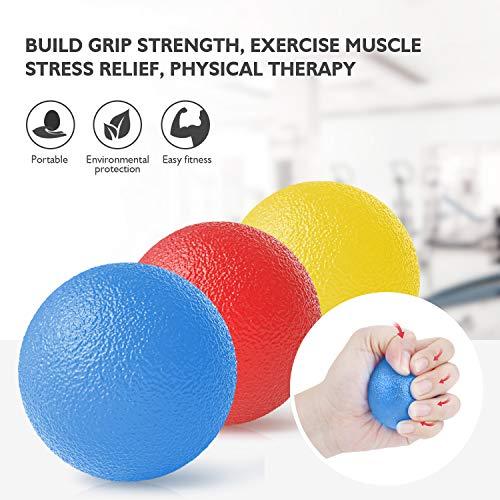 Peradix Handtrainer Fingertrainer Eiförmige Griffbälle 3pcs 30-60lbs Klettern Ball Hand Trainingsgerä Antistressbälle zur Kräftigung von Hand und Finger und Druckentlastung (Gelb, blau, rot-Rund)