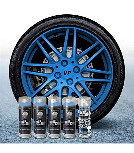 AutoFullCar Pack 4 Sprays Full Dip Azul Metalizado Brillo