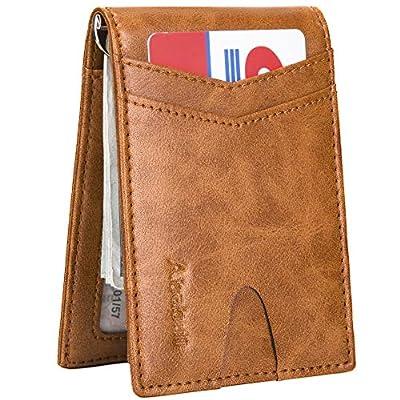 Mens Wallet Money Clip Wallets for Men Card Holder Slim Front Pocket Wallet Rfid Blocking with 2 ID Window