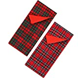 2 Pieces Christmas Sleeping Bags for Elf Doll Red Plaid Sleeping Bag Accessory for Elf Doll Decorations, 2 Styles (Doll is not Included)