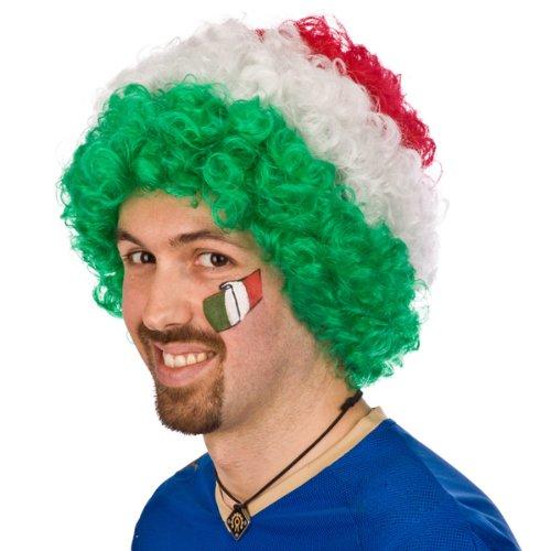 Carnival Toys Perruque Italia Riccia Tricolore Vert Blanc Rouge