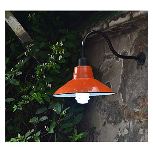 Außen Wandleuchte,Industrie Vintage Wandlampe Wasserdicht IP45 Antik Wandlichter mit Orange Emaille Lampenschirm E27 Edison Außenlampe für Hof Garten Fassade Terrasse Flur Vintage Wandbeleuchtung