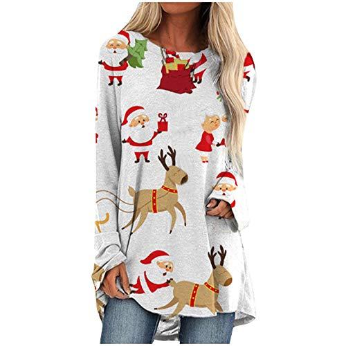 Inawayls Frauen Weihnachtsbluse Lässige Mode Süße Weihnachtsmann- und Hirschdrucke...