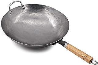 SHYOD Wok en acier au carbone martelé à la main traditionnel avec poignée d'assistance en bois et en acier, fond rond