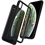 Spigen Coque iPhone XS, Coque iPhone X [Ultra Hybrid] Bumper Noir Souple, Dos Transparent Rigide, Protection - [Air Cushion] Antichoc, Coque Compatible avec iPhone X/XS - Noir