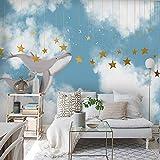 Murales Papel Pintado,Personalizar 4D Impresión Wallpaper Decoración,Creativo Cielo Pintado A Mano Las Nubes Blancas Cartoon Whale Estrellas Wallpaper 3D Hd De Gran Mural De Seda Imprimir Carteles M