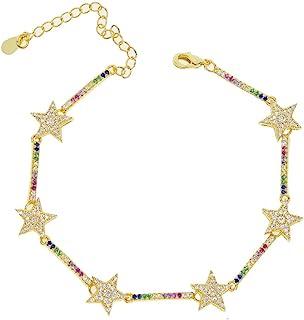 ATJMLADYJEWELRY Micro Pave cz Star bar Charm Geometric Gorgeous Women Lady Jewelry Bracelet 16+5cm