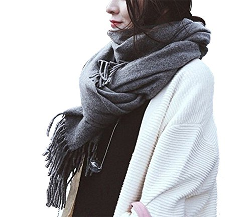 Seogva Damen Schals Kaschmir Foulard mit einem armband groß rechteckig Spitz Schal Halstuch Oversized (grau)