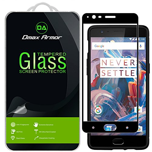 [2-Pack] Dmax Armor for OnePlus 3 / OnePlus 3T [Tempered Glass] Screen Protector, (Full Screen Coverage) (Black)