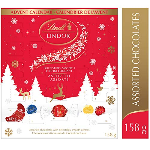 Lindt Lindor Christmas Advent Calendar Assorted Chocolate, Gift Box, 158g, 158 Grams