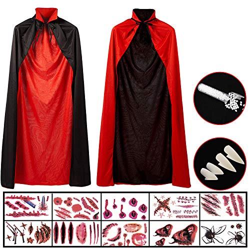 Hook Capa Negra Roja Niño, Disfraz Halloween Niño, Capa Vampiro Mago Bruja(140cm) + 10 Pegatinas + 4 Dientes de Vampiro