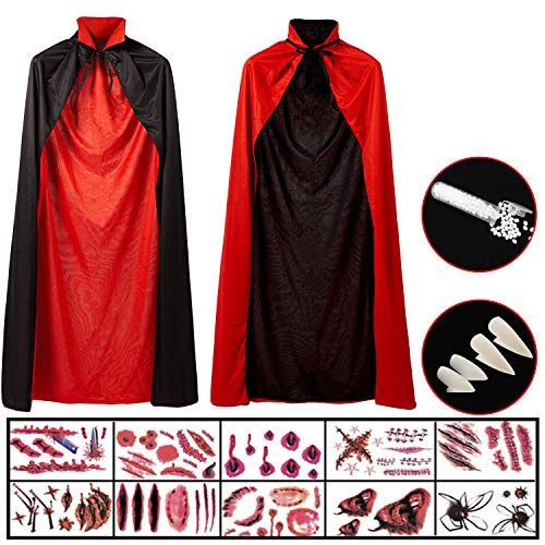 Hook Vampir Kostüm Kinder Umhang Schwarz Rot Teufel Kostüm Mit Tod Kultfaktor Hexe Cape Umhang für Kinder or Damen Halloween Kostüm Mantel Umhang, 10x Temporäre Tattoos, 4X Dentures Props (140cm)