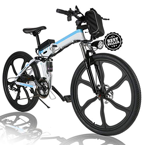 Angotrade 26 inch Folding Electric Bike Mountain E-Bike 21 Speed 36V 8A Lithium Battery Electric Bicycle for Adult Teen (White)