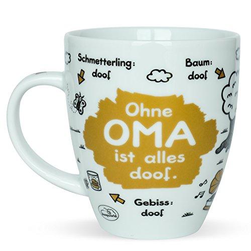 Sheepworld 45135 Tasse mit Spruch Ohne Oma ist alles doof, Porzellan, Geschenk Oma, 45 cl