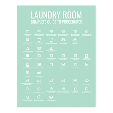 Andaz Press Laundry Room Wall Art Decor Signs, 8.5 x 11-inch Poster, Mint Green Print, Complete Laundry Room Guide to Procedures, 1-Pack
