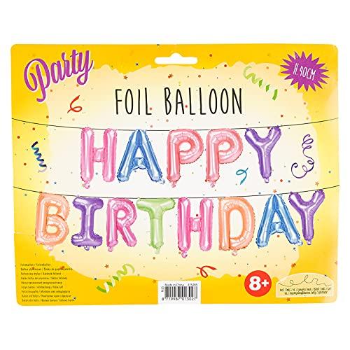Smart Planet Happy birthday - Guirnalda para colgar en la pared para cumpleaños infantiles, incluye tubos y cuerda.