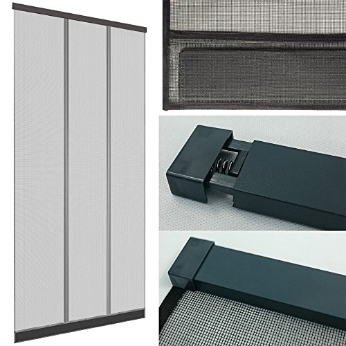 DILUMA | Insektenschutz Tür Vorhang 100x220 cm Anthrazit | Insektenvorhang mit Alu Klemmleiste | Ohne Bohren | mit Fiberglas Lamellen & Eingenähten Gewichten