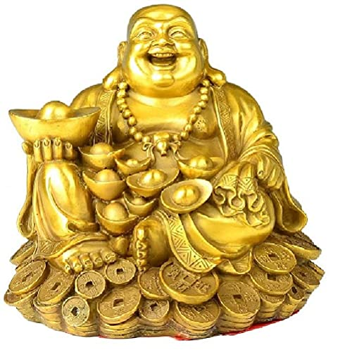 Feng Shui Decor Laughing Buddha Statue Maitreya Figurine Carrying Money Bag Happy Buddha for God Luck Brass Sculptures Home Decorations (Small)