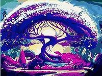 油絵 数字キットによる デジタル インテリア キャンバスの油絵子供 ホーム オフィス装飾 40x50センチ-パープルドリームツリー_フレームレス