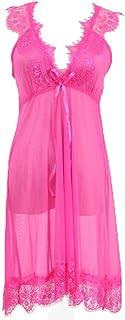 ملابس نوم دانتيل بتصميم رومانسي للعروس من انجرتي، بيبي دول بقبة V وقماش شفاف مع سروال داخلي