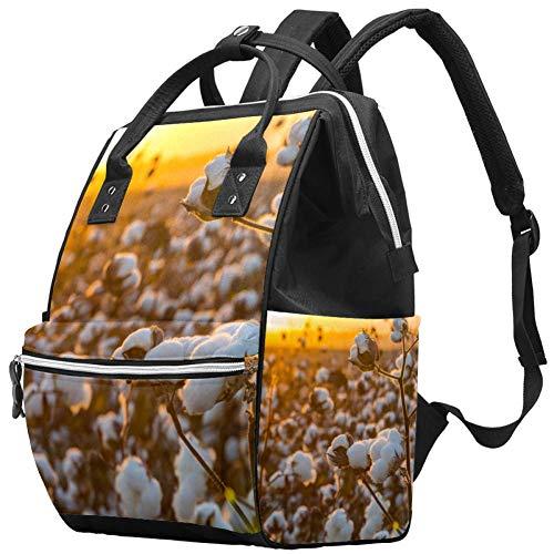 Grand sac à langer multifonction pour bébé, champ de coton sous un motif de coucher de soleil doré, sac à dos de voyage pour maman et papa