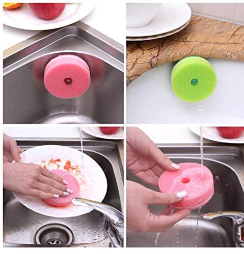 LLine 2-delige keukensponzen Schuursponsjes Bloemvorm Sponsborstel met zuignap Servies Glazen afwasmiddel Sponsreiniger, Vliegtuigtype rond
