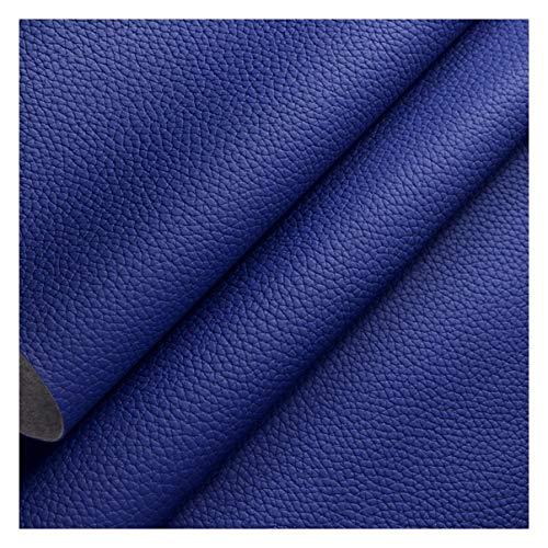 NAKAN 138x100cm Tela de Polipiel por Metros 1,2mm Espesor Tela de Piel Sintética con Patrón Litchi para Tapicería de Sillas Sofá, Manualidades, Decoraciones(Color:Azul Real)